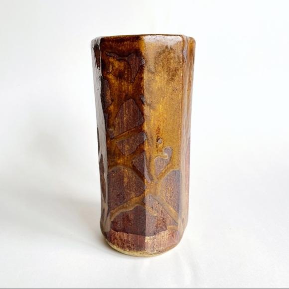 MCM Brutalist ceramic vase by artist Banks